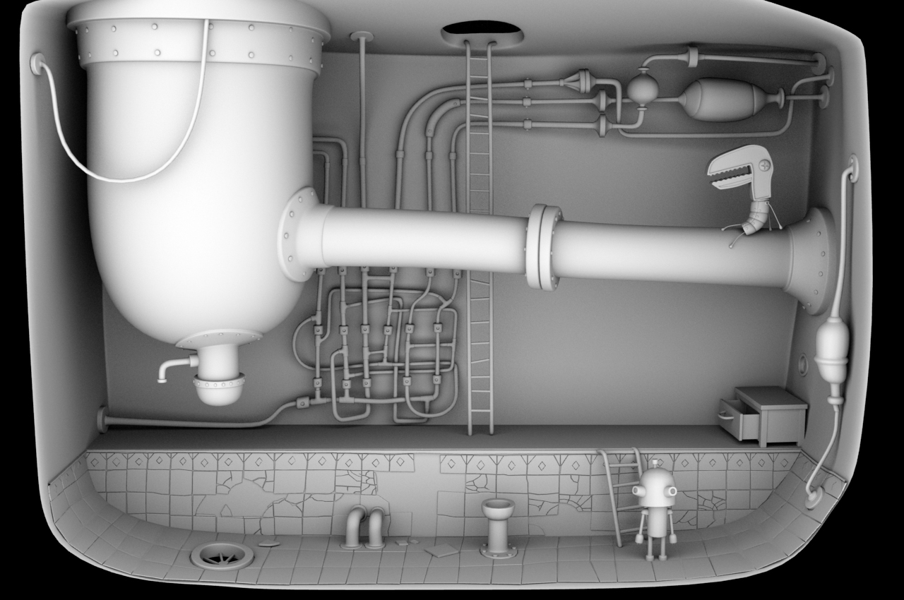Machinerium environment - ambient occlusion render